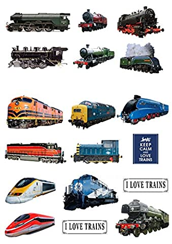 18 Stand Up Steam Engine Diesel Electric Train Themed Edible Wafer paper Cake Toppers Decorations