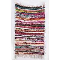 Indiano cotone, 2'x3' piedi tappetino da yoga intrecciato a mano a mano blocco stampato Dhurrie Tappeto