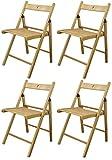Chaises en bois pliantes - couleur bois naturel - lot de 4