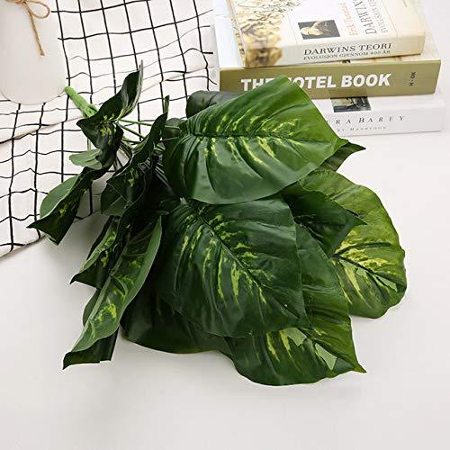 SONIRY 57cm 18 Köpfe hohe künstliche Tropf guanyin Blätter Bonsai ähnlich große Blatt-Grün Pflanze Blume Film: Farbe 2