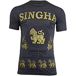 Original rara para hombre Singha Tailandia Lager cerveza camiseta de manga corta de algodón (fabricado en Tailandia | Reino Unido stock), gris oscuro, XL
