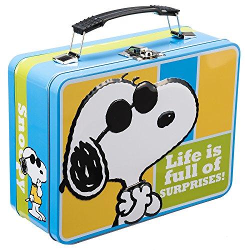 Caja de almuerzo–Snoopy–Comics grande estaño Tote juguetes con licencia 85070