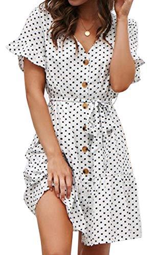 Spec4Y Damen Kleider V Ausschnitt Punkte Sommerkleid Rüschen Kurzarm Minikleid Strandkleid mit Gürtel 7461 Weiß M - Weiß V-ausschnitt Kleider Abschlussball