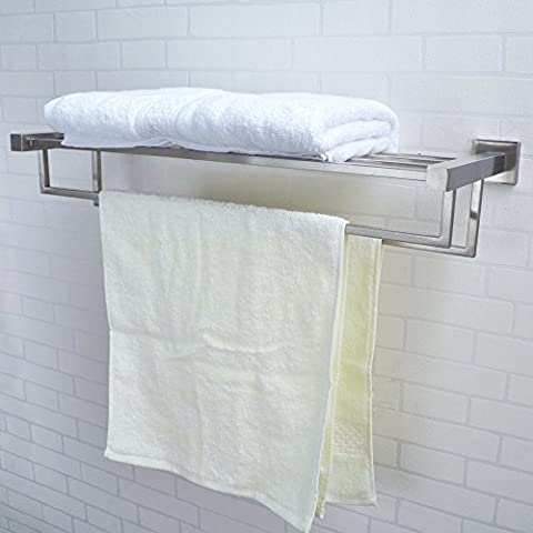 KES Stainless Steel Bath Towel Rack Bathroom Shelf with Double