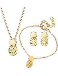 9ee0509cbce3 Qixuan Mujeres Chapado en Oro Plata Forma de piña Pendientes Collar Pulsera  Conjunto de Joyas
