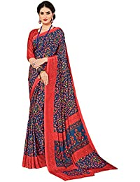 Salwar Studio Women's Red & Blue Italian Crepe Printed Saree With Blouse Piece