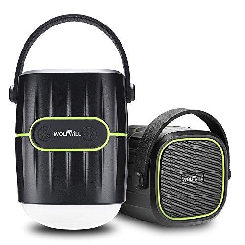 WOLFWILL 8000mAh Wiederaufladebare Camping Laterne Bluetooth Lautsprecher 4.1V Wasserdicht Power Bank Flashlight w/USB Ladegerät