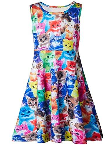 Rave on Friday Mädchen Süßes Bunte Katze Kleider 3D Digital Gedruckt Bunten Atmungsaktiv Urlaub Strand Sommerkleid für Tägliche Abnutzung 6-7T ()