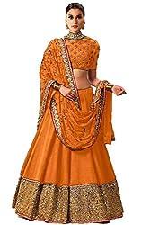 Orange Printed Banglouri Silk Latest Fashionable Lahengha