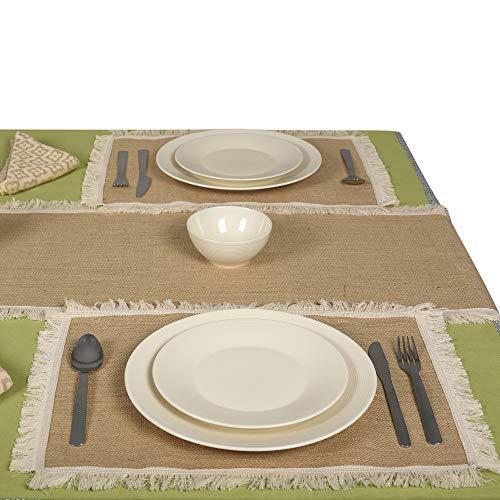 Eloine Linen Tischsets aus Jute, 30,5 x 45,7 cm, 12 Stück Combo Set of 4 Mats + One 15