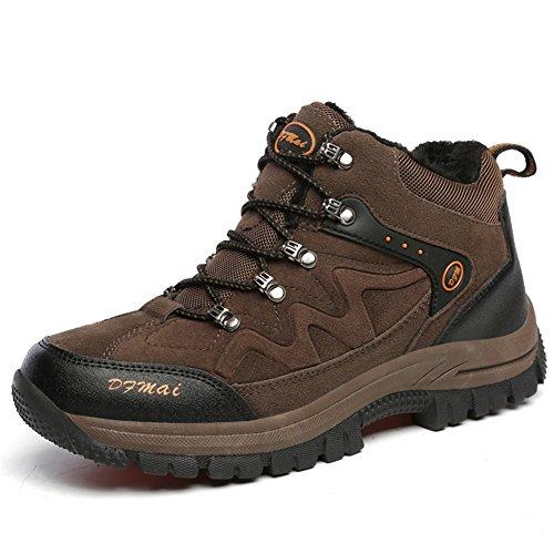 Gomnear Randonnée Bottes Hommes Chaussures De Randonnée Sur Top Hiver Chaud Entièrement Fourrure Doublure Escalade Sneaker Brown