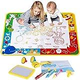 Anpro Doodle Tappeto Magico Disegno - 100 x 70 cm, 4 Colori Acqua Doodle Mat con 3 Pennarelli Magiche/4 Stencil/1 Libro Acquatico Disegno/6 Stampi per Bambini di età Superiore ai 3 Anni