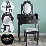 Miadomodo Coiffeuse avec Miror Inclinable et Tabouret | 3 Tiroirs, 76,5x40x146 cm, Noir | Meuble, Table de Maquillage, Secrétaire