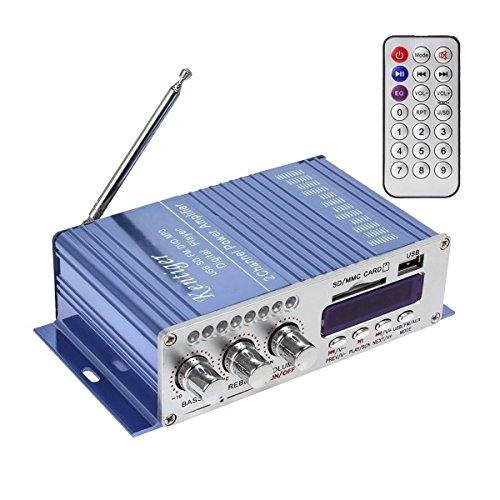 WINGONEER 12V Hi-Fi Stereo amplificador de audio digital de DVD USB SD FM estéreo audio MP3 de radio del coche del altavoz de Bluetooth Amplificador HiFi Mini 2 Canal Digital Display Power Player para iPod / coche / del barco / de la motocicleta