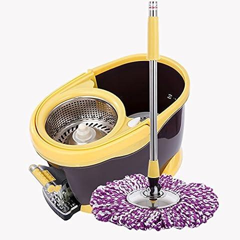 BEITE- Foot Press 360 Spin Mop Bucket System +4 Microfiber Head + Extenable Handle ( Couleur : Marron )