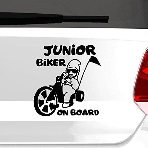 malango® Junior Biker on board Autoaufkleber Autosticker Baby Sticker Aufkleber ca. 19 x 20 cm pastellorange