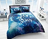 Lifestyle Produktion® New Vintage Multi Design bedruckt Wende Polycotton Bettwäsche-Sets Betten Kopfkissen, Galaxy, Doppelbett