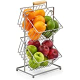 EZOWare Fruit Stand with 2 Hanging Mini Baskets, Kitchen Produce Countertop Display Holder - Storage Organiser for Fruits Veggies Snacks Household Items - Silver Metal