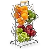 EZOWare Frutero de 2 Cestas, Organizador de Encimeras Metal Decorativo para Frutas, Verduras, Bocadillos, Artículos para el Hogar - Plata