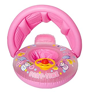 Artistic9 Inflatable Swimming Pool Boat Float Seat Chair Pink Swim Inflatable Swimming Safe Raft with Sun Shade for Baby Girls,2 Ring Small 66cm