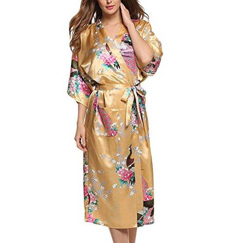 Asskyus Traje de Kimono de Robe Largo del sueño de Las Mujeres, Albornoz del Pavo Real y Flores del Traje Floral (L, Amarillo)
