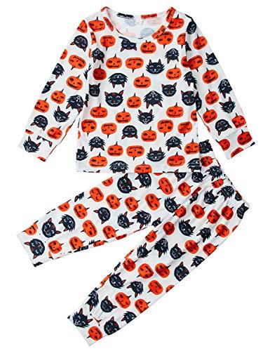 AIDEAONE Mädchen Halloween Kürbis Pyjamas Little Kids Baumwolle Nachtwäsche PJS