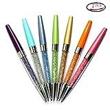 Abcsea 7PCS Bling Bling Schlanke Kristall Diamant Versenkbare Kugelschreiber, Vielfalt Farbe (Rosa, Orange, Gelb, Grün,