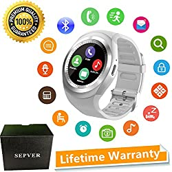 Montre Connectée SEPVER SmartWatch Sn05 Ronde Smart watch Sport podomètre Fitness Tracker Carte Sim de Soutien pour iPhone ios Android Samsung Huawei Sony LG HTC Google Homme Femme Enfants (Blanc)