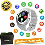 SEPVER Smart Watch SN05 Round Smartwatch Pedometer Fitness Tracker With SIM TF Card Slot Calls Notifications For IOS Android Samsung Huawei Sony LG HTC Google Men Women White