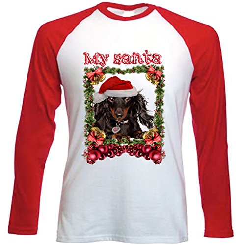 Teesquare1st Men's DACHSHUND BLACK LONG HAIR 1 MY SANTA TSHIRT Red Long Sleeved Baseball T-shirt Size Large