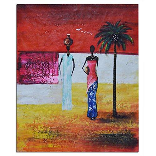 Raybre Art Abstrakte malerei kokospalme zwei stehen Afrikanische frauen Kunstwerk abstrakte Bilder Gedruckt auf Leinwand Wandkunst für schlafzimmer Büro