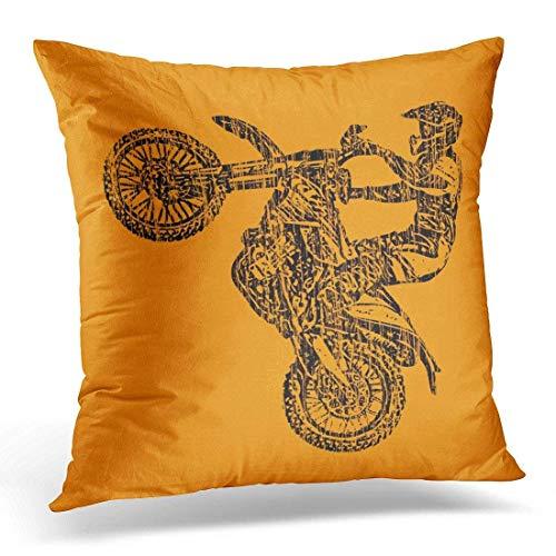 artyly Kissen KissenbezugRetro Motorrad Dirt Bike Vintage Moto Decor Square Accent Pillowcase 45x45 cm (1. Dekorationen Elmo Geburtstag)