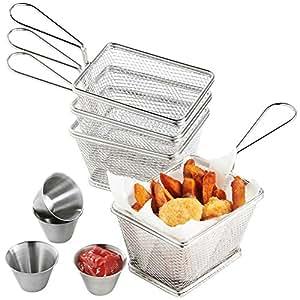 VonShef Set da 4 cestini mini in acciaio inox per servire il fritto con 4 ciotoline per le salse