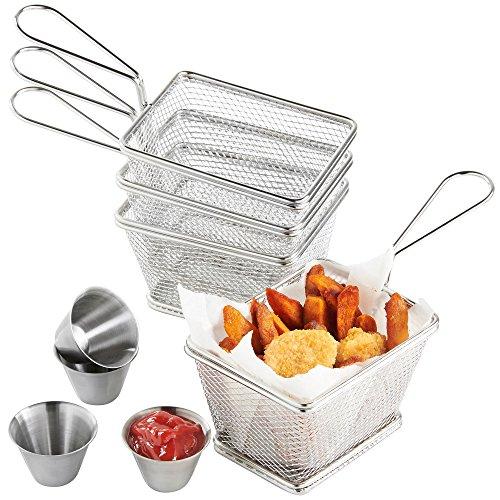 VonShef Set de 4 Mini Cestas de Acero Inoxidable para Servir Fritos con 4 x Boles para Freir Salsa