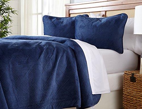Tolle Bay Home Quilt in Samtstoff Bettwäsche Set. 3-teilig Quilt coverlets. Samt Top mit 70% Baumwolle Füllung. Diamant Muster. Twin Navy