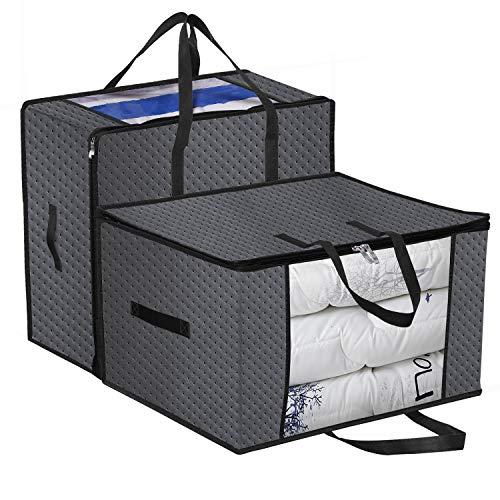 homyfort 2 Stück Aufbewahrungstasche für Bettdecken, Kissen - Kleidung Lagerplätze, Decken Organisator Lagerbehälter, Haus bewegen Tasche Feuchtigkeit Geschützt 58x49x35 cm 99.5L, Dunkelgrau, X3GR60M (Ein Stück Bewegen)