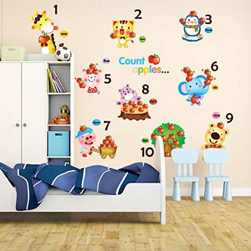 Zählen Äpfel Wandaufkleber Vinyl Diy Tier Wandbild Kunst Für Kinderzimmer Kindergarten Kindergarten Dekoration