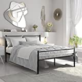 LIFE CARVER Double Metal Bed Frame in Black 4ft6 for Adults,Kids,Teenagers