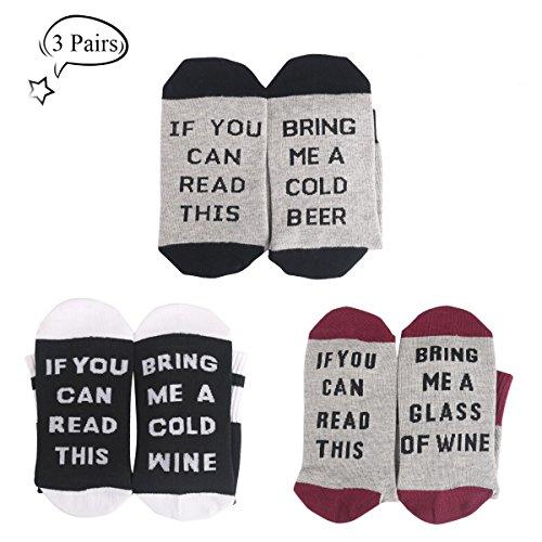 3 conjuntos de calcetines de algodón de la comodidad calcetines de regalo de navidad para los amantes del vino, cumpleaños, hombres, mujeres, madre o padre regalo, esposo, esposa o amigo