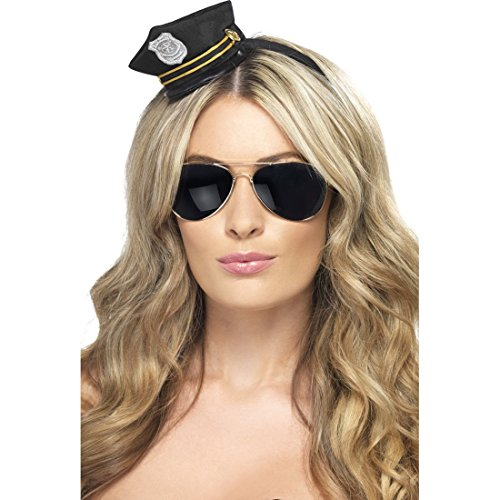 NET TOYS Polizistin Minihut Damen Polizeimütze Polizei Mütze Mini Hut JGA Polizeihut Cop ()