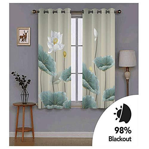 Lovexoo tende per la camera paesaggio di loto tenda oscurante termica isolante - con da letto della finestra del soggiorno tenda finestra con occhielli 2 pezzi, 2xl117xa138cm