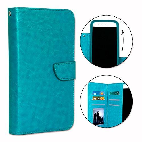 PH26® Etui housse folio pour POLAROID Phantom 5 V2 format portefeuille en éco-cuir turquoise avec double clapet intérieur porte cartes, fermeture magnétique et surpiqures apparentes