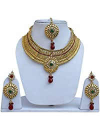Lucky Jewellery Designer Golden Color Gold Plated Stone Necklace Set For Girls & Women