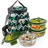 Home Puff Borosilicate Glass Lunch Box Set, 400ml, Set of 3, Green