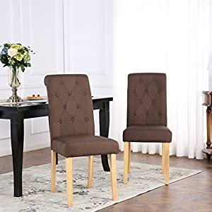 The Home Garden Store Set of 2 Kensington Fabric Dining Chairs Scroll High Back (Brown)