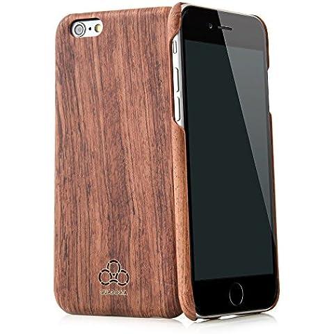 Quadocta® Arbor Case para el iPhone 5/5s en negro/plástico blanco con madera Incluye QUADOCTA® Gamuza de microfibra y QUADOCTA® Screenprotector Crystal Palisander iPhone 6s