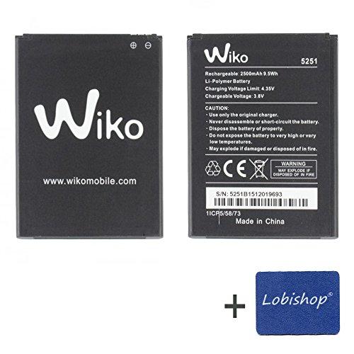 Lobishop Original Batterie Wiko 5251 2500 mAh 9,5Wh 3,8V LI-Polymer pour Wiko Rainbow Jam 4G ou Wiko Pulp 3G / 4G + Screen Cleaner