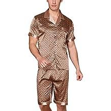 Yanqinger Set de 2 Piezas Satén Pijamas de Dormir Hombre Verano Mangas Corta Pantalones Corto Elegante