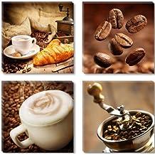 Visario 6603 - Fotografía sobre lienzo (4 piezas, 4 x 30 x 30 cm), diseño de café