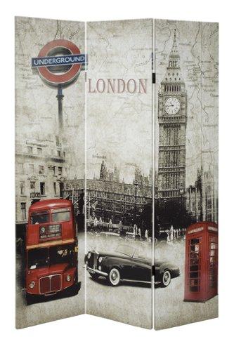 "Paravent \""London\"" Holzrahmengestell mit Fotogewebe"